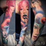 тату космос рукав - фото готовой татуировки 42182 tatufoto.ru