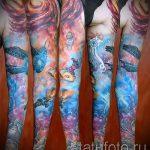 тату космос рукав - фото готовой татуировки 45185 tatufoto.ru