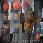 тату космос рукав - фото готовой татуировки 48188 tatufoto.ru