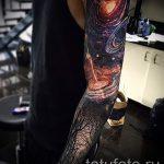 тату космос рукав - фото готовой татуировки 5145 tatufoto.ru