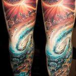 тату космос рукав - фото готовой татуировки 8148 tatufoto.ru