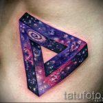 тату космос треугольник - фото готовой татуировки 15203 tatufoto.ru