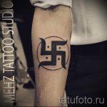 тату на руке свастика - фото готовой татуировки от 02092016 2033 tatufoto.ru