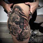 тату пистолет с розами - фото готовой татуировки 01092016 10144 tatufoto.ru