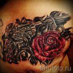 тату пистолет с розами - фото готовой татуировки 01092016 13146 tatufoto.ru