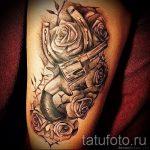 тату пистолет с розами - фото готовой татуировки 01092016 16149 tatufoto.ru