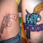 тату пистолет у девушек - фото готовой татуировки 01092016 16168 tatufoto.ru