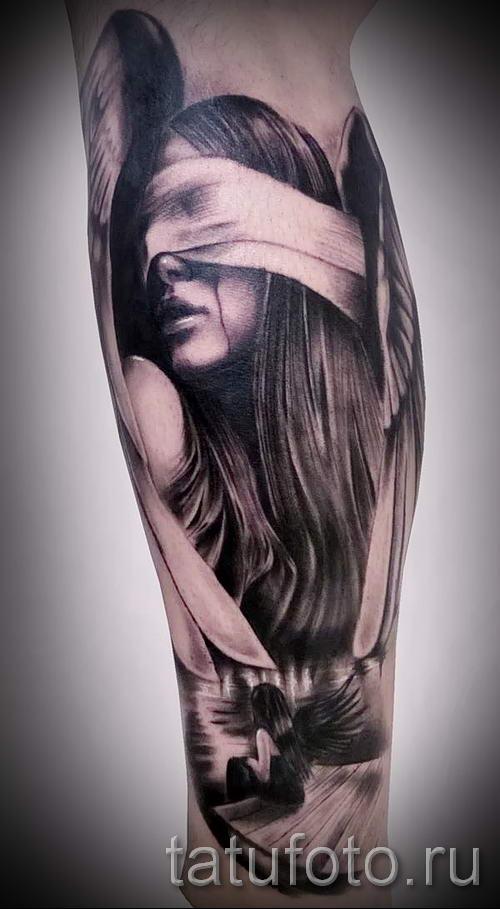 девушка с завязанными глазами обозначение тату