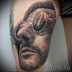 фото тату портрет - лицо героя из фильма Лион Киллер