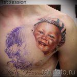 фото тату портрет ребенка - татуировка в работе