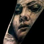 Тату портрет - необычный вариант женского лица в татуировке