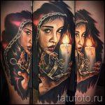 фото тату портрет - красивая девушка и горящая свеча