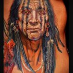 фото тату портрет индейца в характерной раскраске