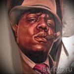 фото тату портрет мужчины - темнокожий мужчина в шляпе и с сигарой