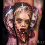 фото тату портрет ребенка - девочка с изуродованным лицом - стилизация зомби