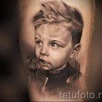 тату портрет ребенка мальчика со светлыми волосами