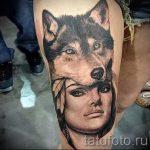 портрет тату фото - девушка в шкуре волка