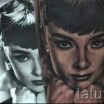 Красивые глаза девушки в портретной татуировке с фото