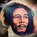 Цветная татуировка с портретом Боба Марли
