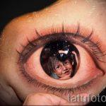 фото тату портрет ребенка - как отражение в зрачке глаза