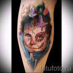ярка и цветная фото тату портрет ребенка с рисунками на лице