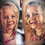 фото тату портрет - красивая девочка (ребенок) со светлыми волосами