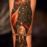 тату сова космос - фото готовой татуировки 4220 tatufoto.ru