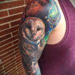 тату сова космос - фото готовой татуировки 5221 tatufoto.ru
