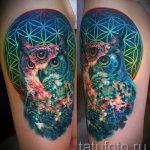 тату сова космос - фото готовой татуировки 6222 tatufoto.ru