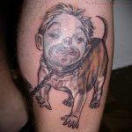 Смешная тату собака с лицом человека
