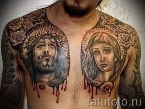 тату икона фото - вариант на груди для мужчины