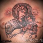 Пример иконы Божьей Матери в татуировке