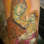 Божья Мать с младенцем - фото пример тату иконы