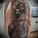 воин и лик святого - фото тату