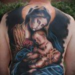 Божья Мать - большая цветная тату на всю спину - фото вариант
