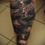 череп с пистолетом тату - фото готовой татуировки 01092016 2210 tatufoto.ru