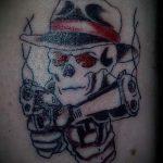 череп с пистолетом тату - фото готовой татуировки 01092016 3211 tatufoto.ru