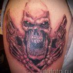 череп с пистолетом тату - фото готовой татуировки 01092016 4212 tatufoto.ru