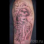 череп с пистолетом тату - фото готовой татуировки 01092016 7215 tatufoto.ru