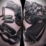 Pistole Tattoo auf seinem Bein das Mädchen - ein Foto des fertigen Tätowierung 01092016 1011 tatufoto.ru