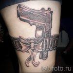 Tattoo-Pistole auf seinem Bein - ein Foto des fertigen Tätowierung 01092016 1055 tatufoto.ru