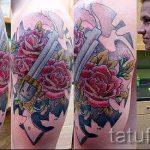 Tattoo-Pistole mit Rosen - ein Foto des fertigen Tätowierung 01092016 1060 tatufoto.ru