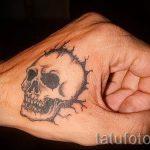 einfache Schädel-Tattoos - Fotos der fertigen Tätowierung 02092016 1009 tatufoto.ru