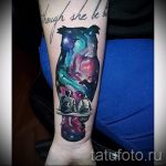 owl tattoo space - a photo of the finished tattoo 1015 tatufoto.ru