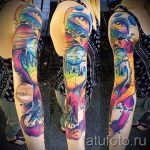 space tattoo sleeve - a photo of the finished tattoo 1020 tatufoto.ru