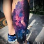 space tattoo watercolor - photo of the finished tattoo 1022 tatufoto.ru