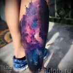 space tattoo watercolor - photo of the finished tattoo 1022 tatufoto.ru
