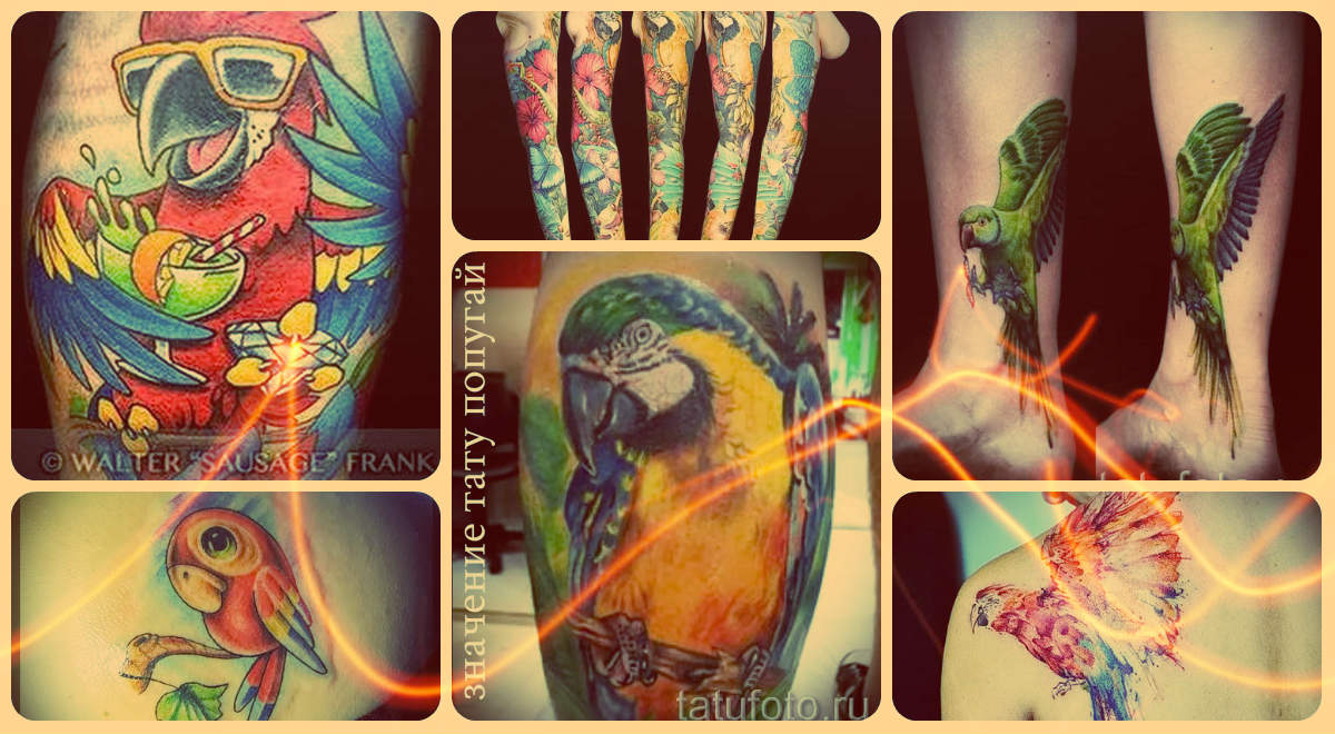 Значение тату попугай и примеры удачных готовых тату - фото