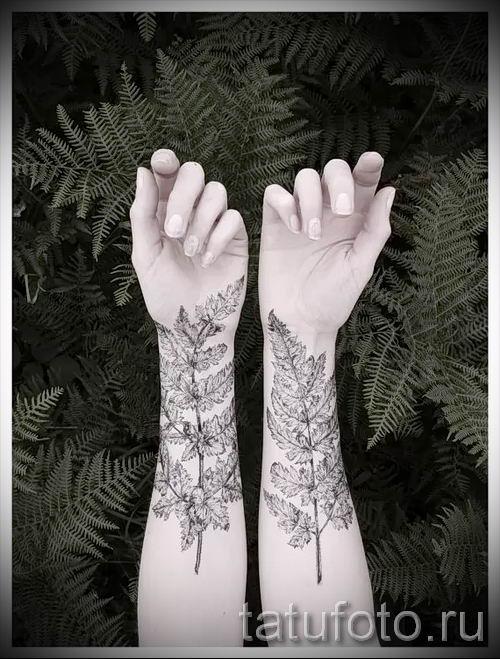 Классная тату папоротник на фото - для статьи про значение татуировки 15