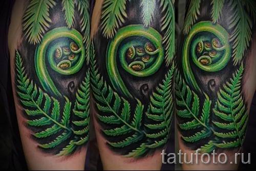 Классная тату папоротник на фото - для статьи про значение татуировки 45